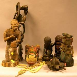Eight African and Ethnographic Carved Wooden Items and Three Carved Ivory Jewelry Items