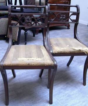 Pair of Kittinger Classicalstyle Upholstered Carved Mahogany Side Chairs