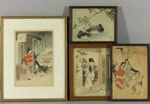 Four Framed Prints by Toshikata Mizuno