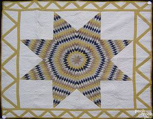 Pieced lone star quilt late 19th c