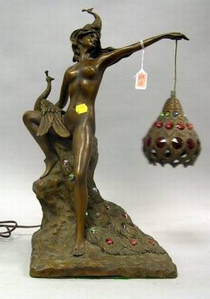 Art Nouveau Style Jeweled Bronze Figural Table Lamp