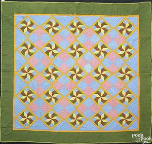 Pieced calico quilt ca 1900