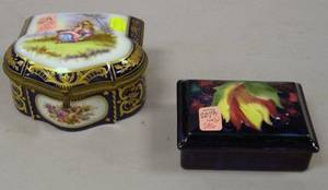 Moorcroft Pottery Covered Box and a Sevresstyle Giltmetal Mounted Porcelain Box