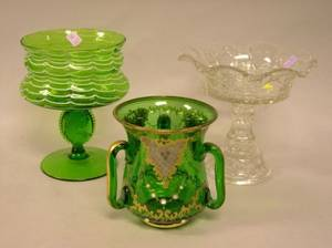 Enamel Decorated Green Glass Loving Cup a Green and White Art Glass Compote and a Colorless Pressed Glass Compote