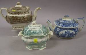 English Blue and White and Brown and White Transfer Decorated Staffordshire Teapots and a G Phillip Teal Park Scenery Pattern Transfe