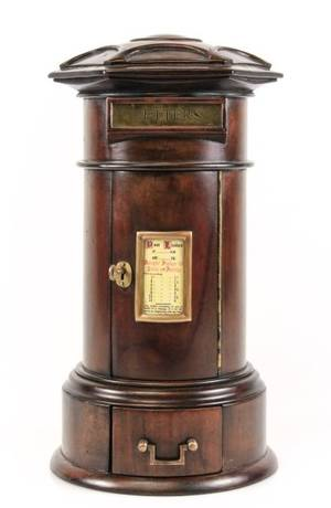 Miniature Mahogany Cased Table Top Letter Box