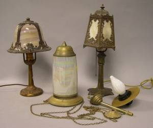 Two Cast Metal and Slag Glass Boudoir Table Lamps and a Turkishstyle Brass and Opalescent Glass Hanging Lamp