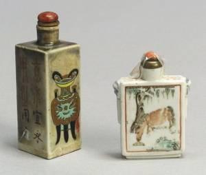 Two Rectangular Porcelain Snuff Bottles