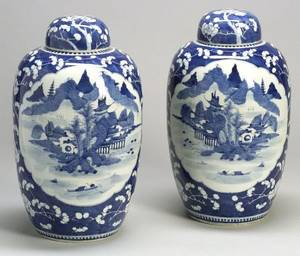 Pair of Blue Decorated Porcelain Covered Jars