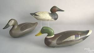 Carved and painted mallard drake decoy mid 20th c