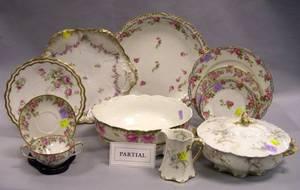 Assembled Seventysix Piece Limoges Floral Transfer Decorated Porcelain Partial Dinner Service