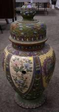 Large Japanese Satsuma Enamel Decorated Ceramic Covered Urn