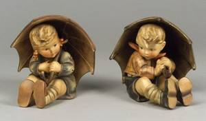 Pair of Large Hummel Ceramic Figures with Umbrellas