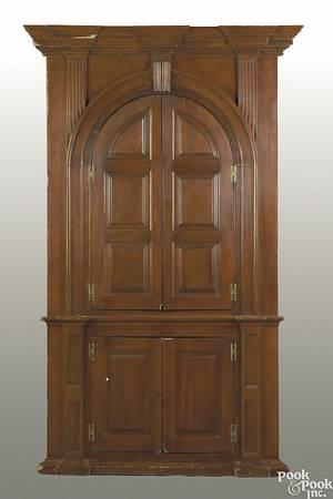 Pennsylvania pine onepiece architectural corner cupboard ca 1810