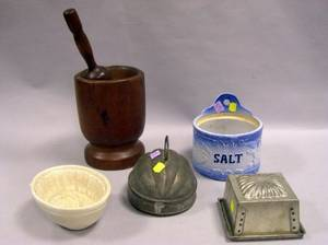Glazed Stoneware Salt Box Pottery Sheaf of Wheat Pudding Mold Two Tin Molds and a Wooden Mortar and Pestle