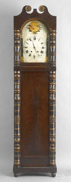 Pennsylvania late Federal mahogany tall case clock ca 1835