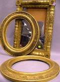 Giltwood Split Baluster Mirror and a Pair of Oval Giltwood Frames