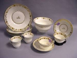 SixtyPiece English Gilt Decorated Porcelain Partial Tea Service
