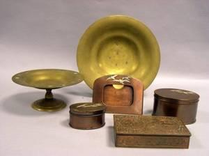 Tiffany Studios Bronze Zodiac Pattern Desk Box MotherofPearl Inlaid Gilt Bronze Tazza and Gilt Bronze Low Bowl and a ThreePiece He