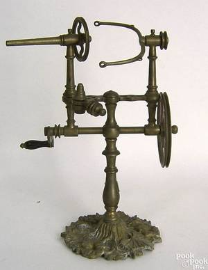 Brass table top yarn winder 19th c