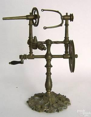 Brass table top yarn winder 19th c