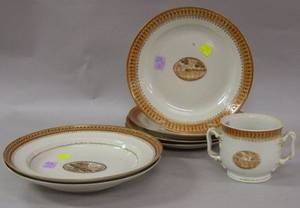 Set of Four Chinese Export Porcelain Plates a Pair of Bowls and a TwoHandled Cup