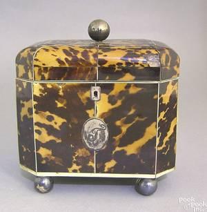 George III tortoiseshell and ivory tea caddy late 18th c