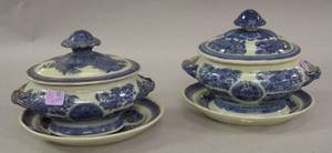 Pair of Chinese Export Porcelain Canton Blue and White Covered Sauce Tureens with Undertrays