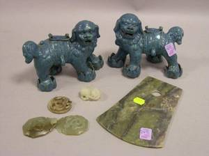 Pair of Chinese Glazed Pottery Foo Dogs a Jade Axe Head Carved TwoPart Buckle Small Dragon and Hardstone Ornament