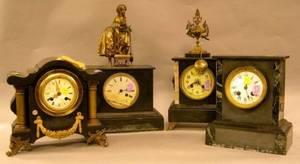 Frenchstyle Cast Iron Mantel Clock and Three Black Slate Mantel Clocks