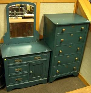 Blue Painted FiveDrawer Tall Chest Mirror and a Late Victorian Blue Painted Commode