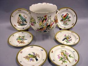 Set of Six Meissen Bird and Insect Decorated Porcelain Plates and a HandPainted Porcelain Pot