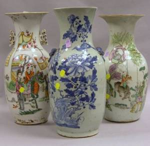 Two Chinese Export Porcelain Vases and a Chinese Porcelain Blue and White Floral Decorated Vase