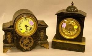 Ansonia Ormolu Mounted Faux Marble Iron Mantel Clock and a Late Victorian Black Slate Mantel Clock