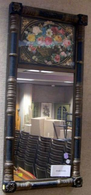 Parcelgilt and Ebonized Split Baluster Mirror and a Giltwood Molded Mirror