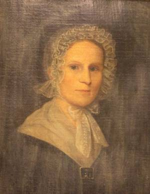 Framed Oil Portrait of a Woman with a White Cap