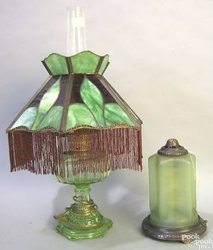 Green glass oil lamp with slag glass shade