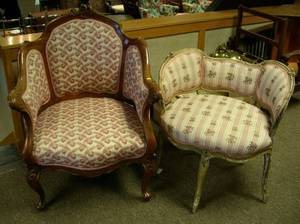 Louis XV Style Upholstered Carved and Painted Boudoir Chair and a Rococostyle Upholstered Carved Mahogany Fauteuil