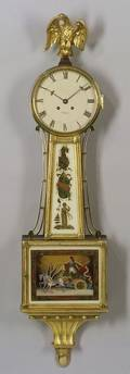 Chelsea Clock CoKittinger Williamsburg Federalstyle Parcelgilt Mahogany and ReversePainted Banjo Wall Timepiece
