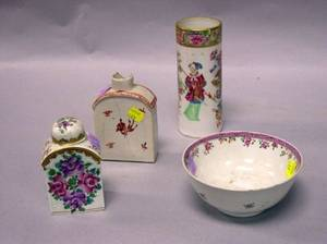 Two Chinese Export Porcelain Tea Caddies a Bowl and a Vase