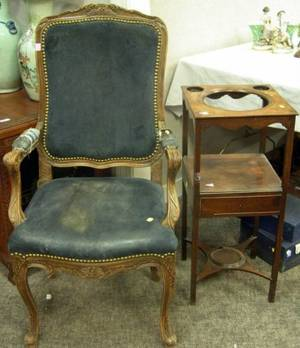 Louis XV Style Beechwood Open Armchair and a Victorian Mahogany Washstand