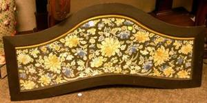 Ebonized Wood Framed Chinese Silk Floral Embroidered Panel Serving Tray