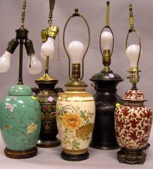 Five Asian Decorative Table Lamp Bases