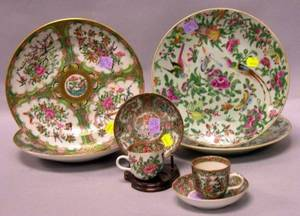 Four Chinese Export Porcelain Rose Canton Plates and Two Cups and Saucers