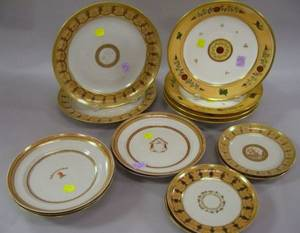 Twelve Chinese Export Porcelain Continentalstyle Armorial Decorated Dishes and a Set of Four Paris Porcelain Dishes