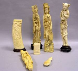 Five Asian Carved Ivory Figures and Ornaments and an Eskimo Carved Table Item