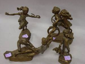 Four Mark Hopkins Bronze Figures of Children Playing