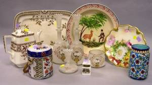 Seven English and Continental Decorated Ceramic Table Items and a FourPiece Bristol Glass Dresser Set
