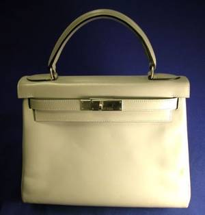 Gray Leather Kelly Handbag Hermes