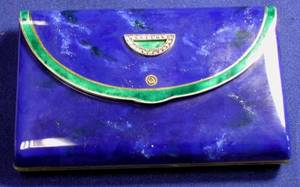 Art Deco 14kt Gold Enamel and Diamond Minaudiere